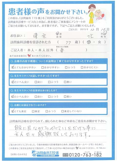 東京都北区 77歳 男性
