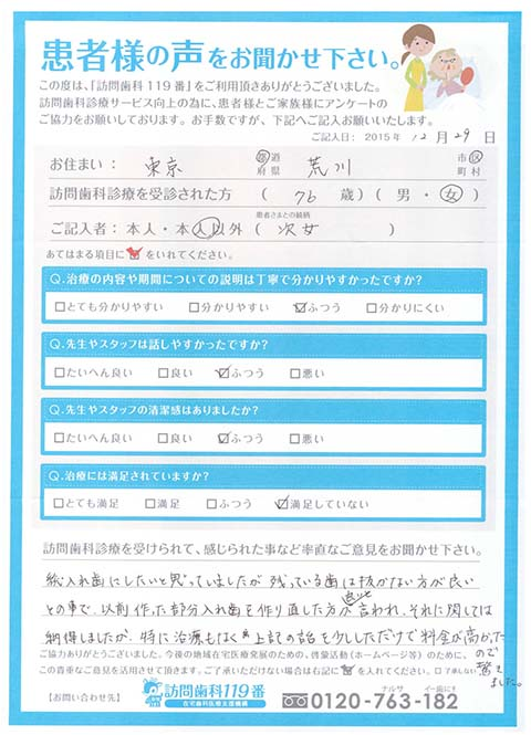 東京都荒川区在住 76歳 女性