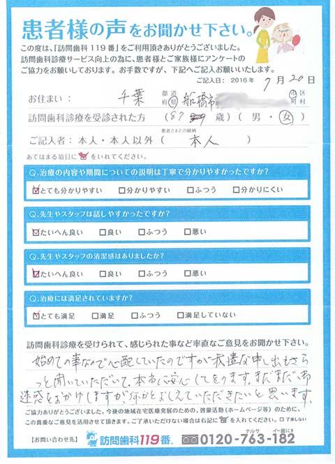 千葉県船橋市在住 87歳 女性