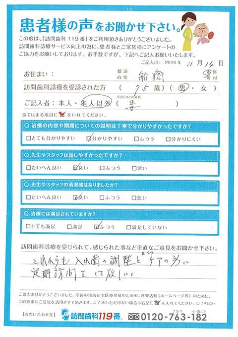 千葉県船橋市在住 75歳 男性