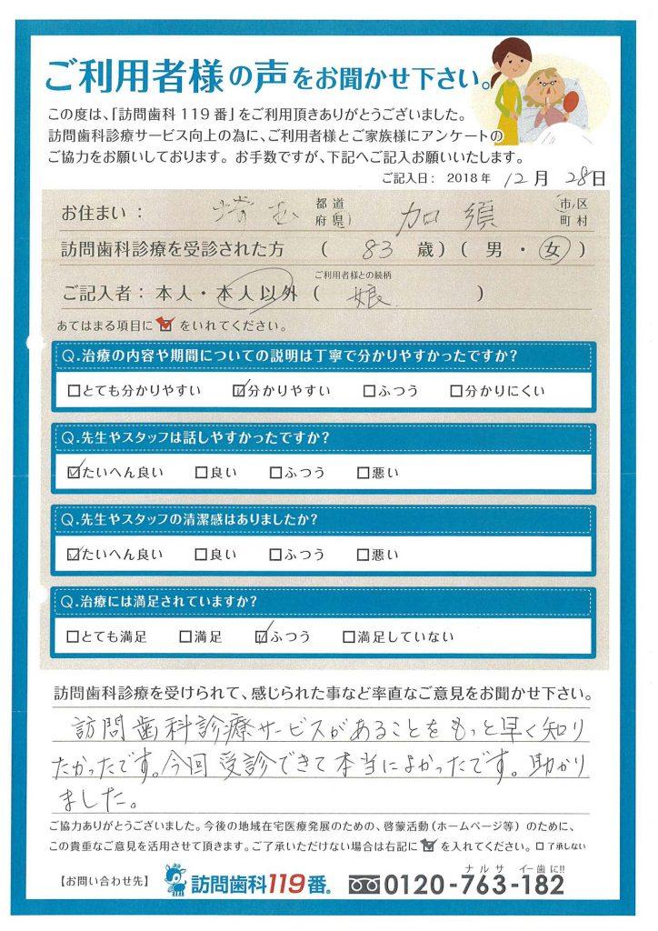 埼玉県加須市 83歳 女性
