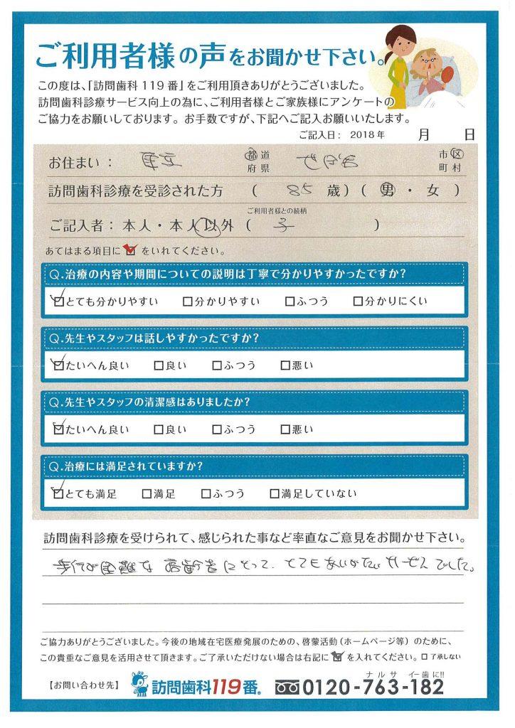 東京都世田谷区 85歳 男性