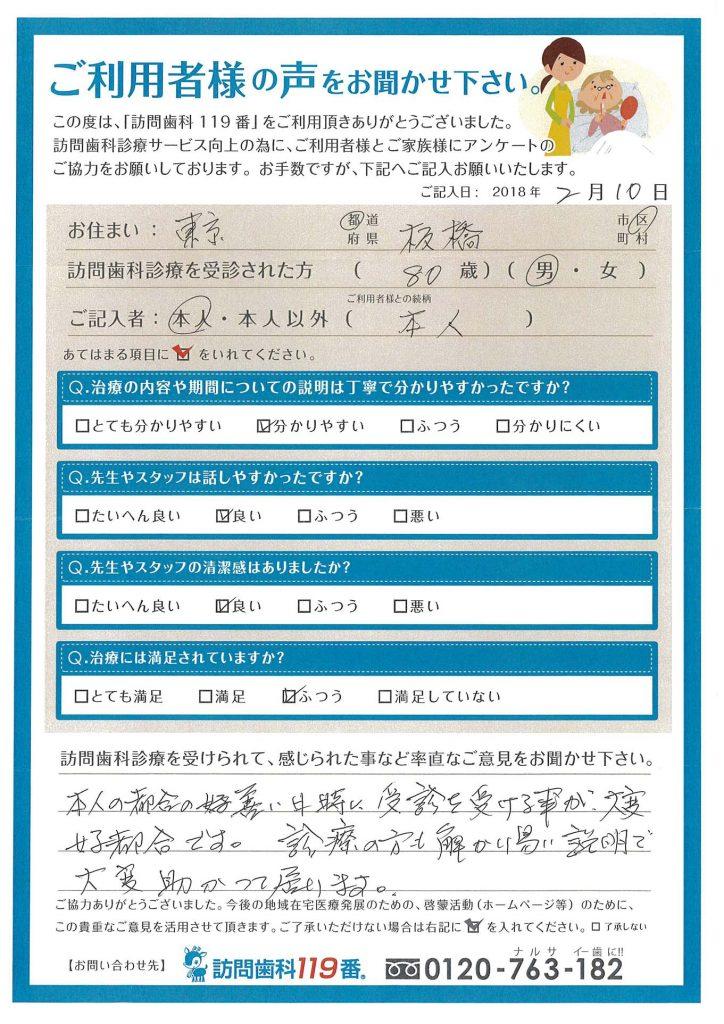 東京都板橋区 80歳 男性
