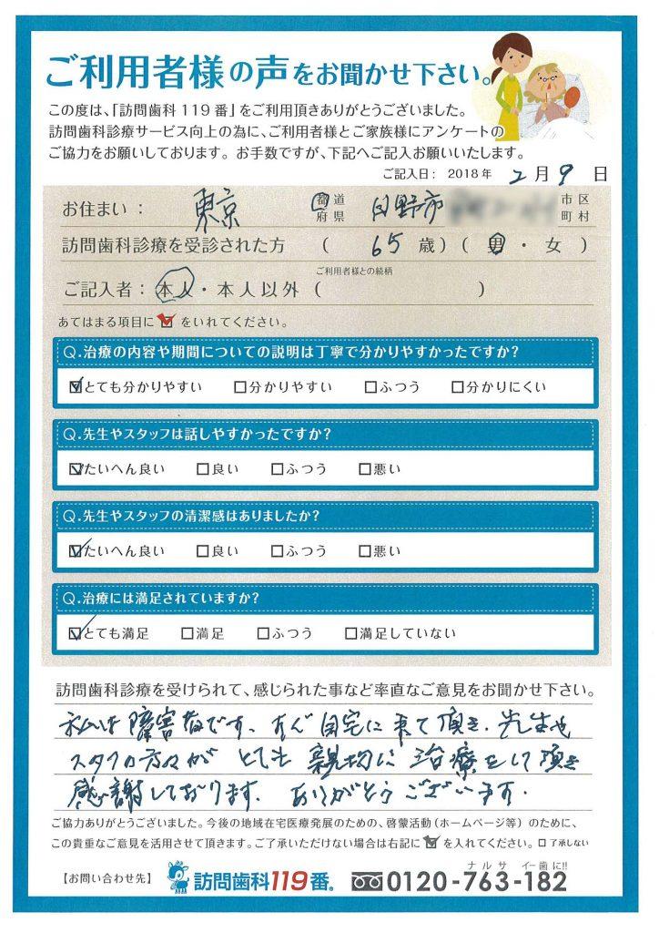 東京都日野市 65歳 男性