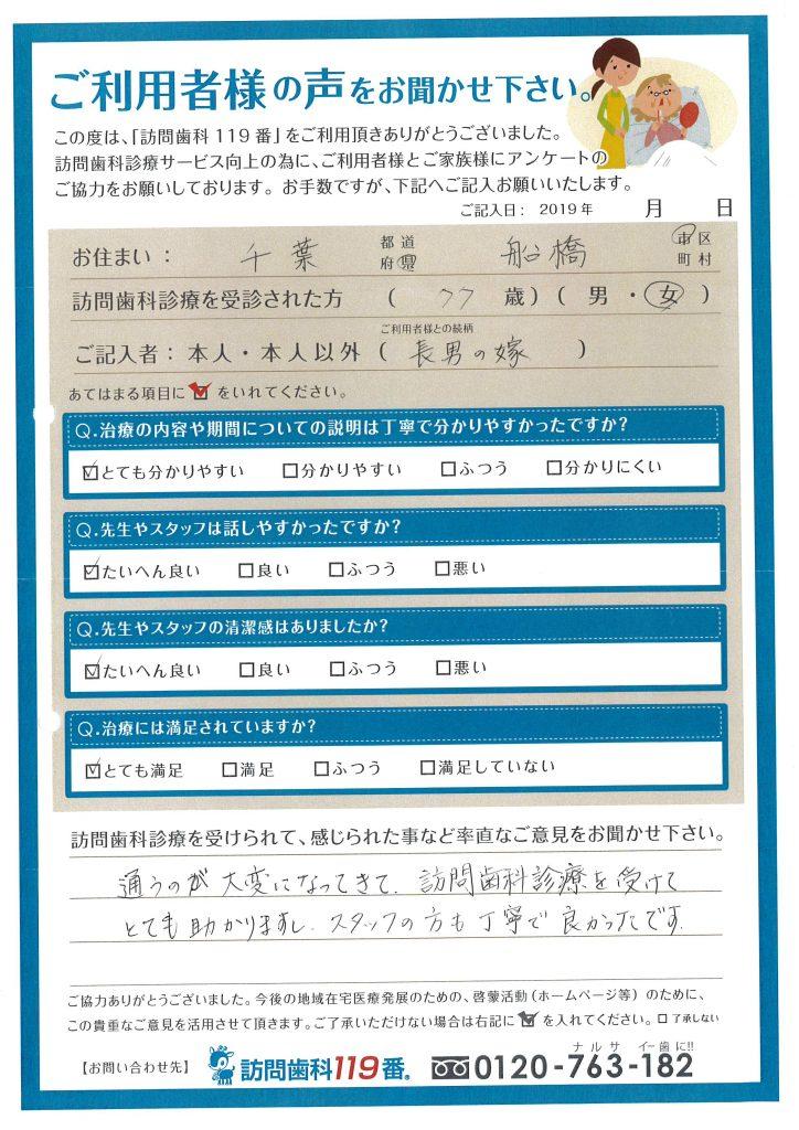 千葉県船橋市 77歳 女性