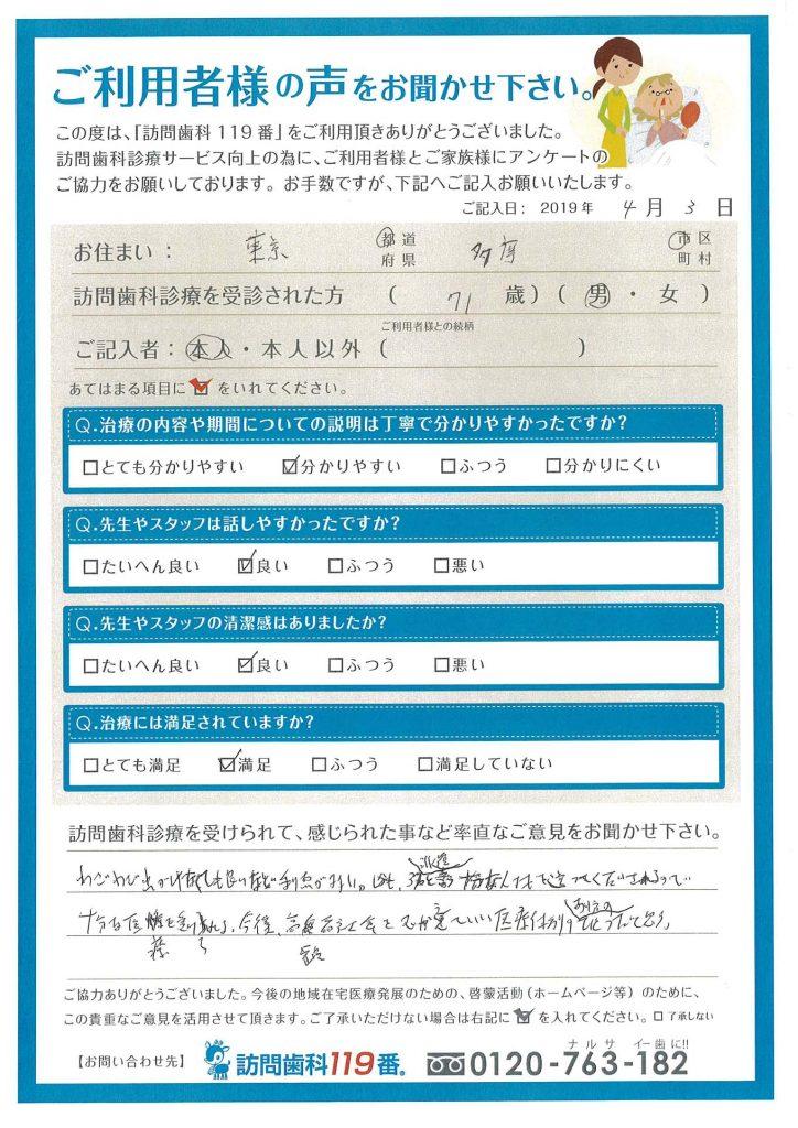 東京都多摩市 71歳 男性