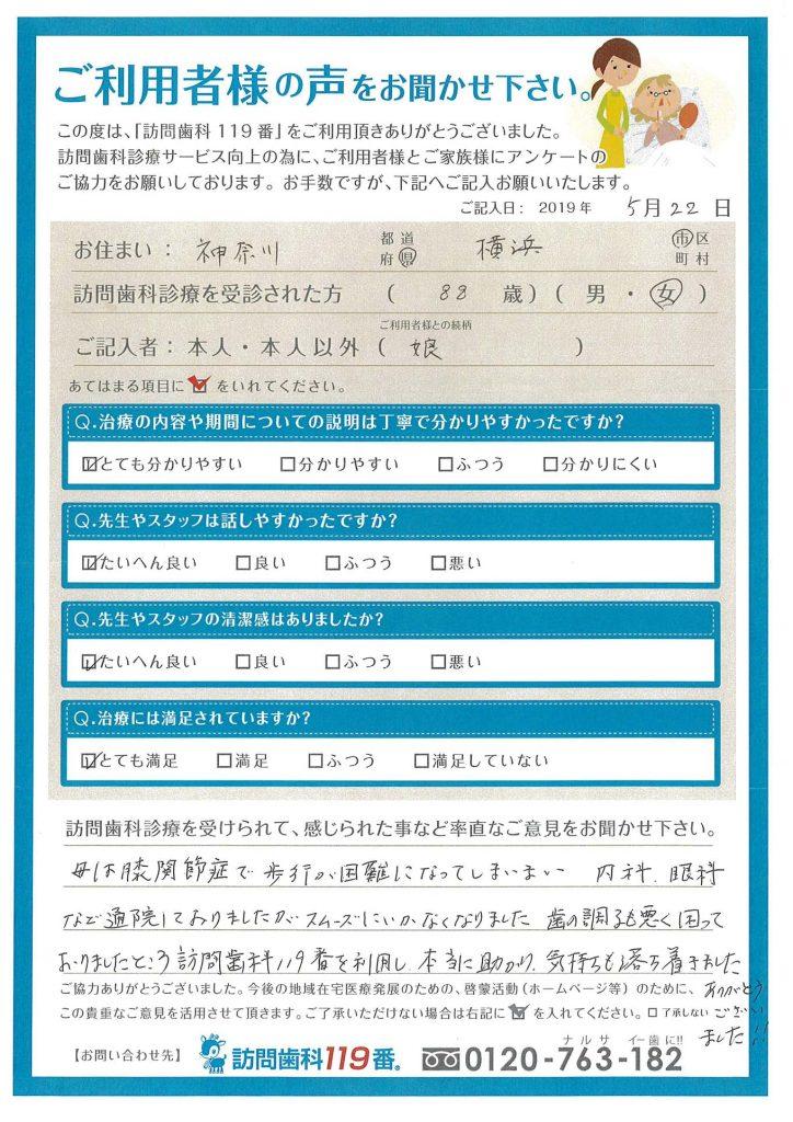 神奈川県横浜市 88歳 女性