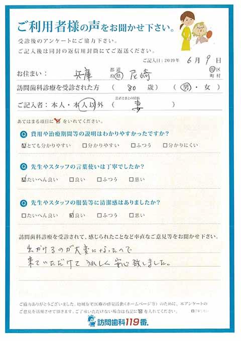 兵庫県尼崎市 80歳 男性