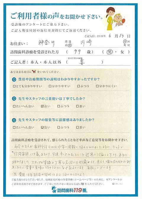 神奈川県川崎市 99歳 男性