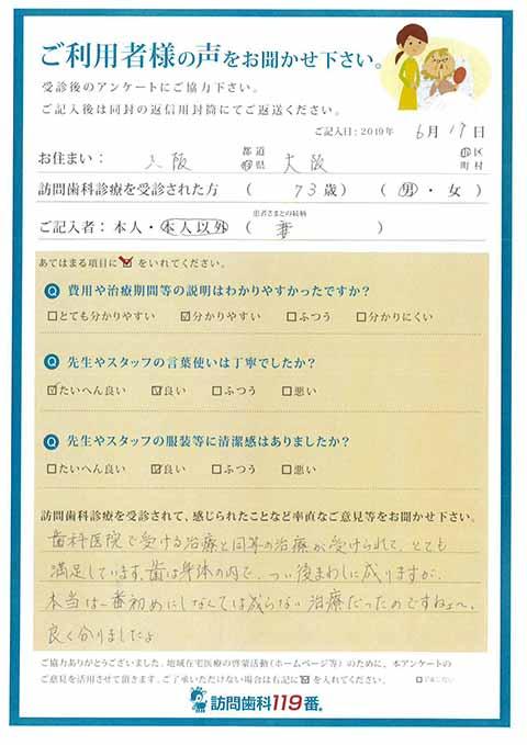 大阪府大阪市 73歳 男性