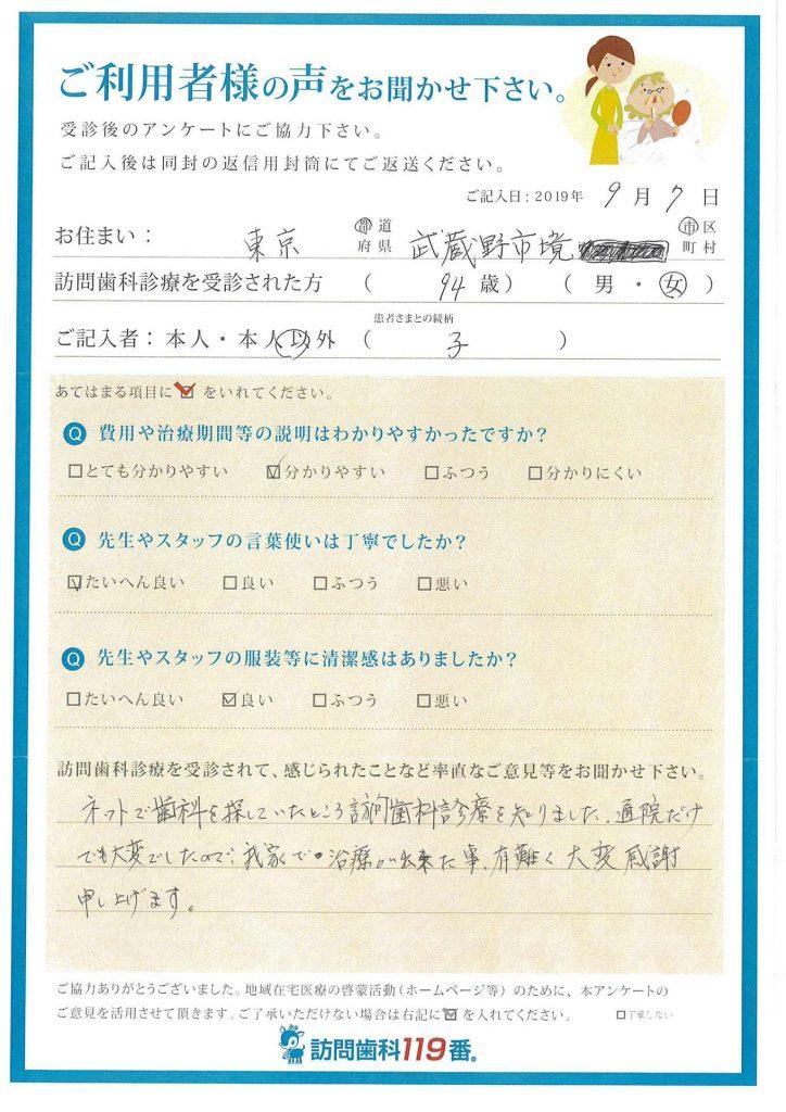 東京都武蔵野市 94歳 女性