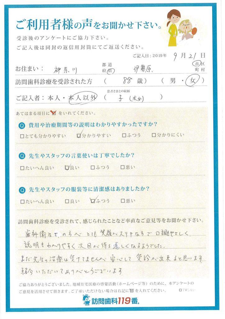 神奈川県伊勢原市 88歳 女性