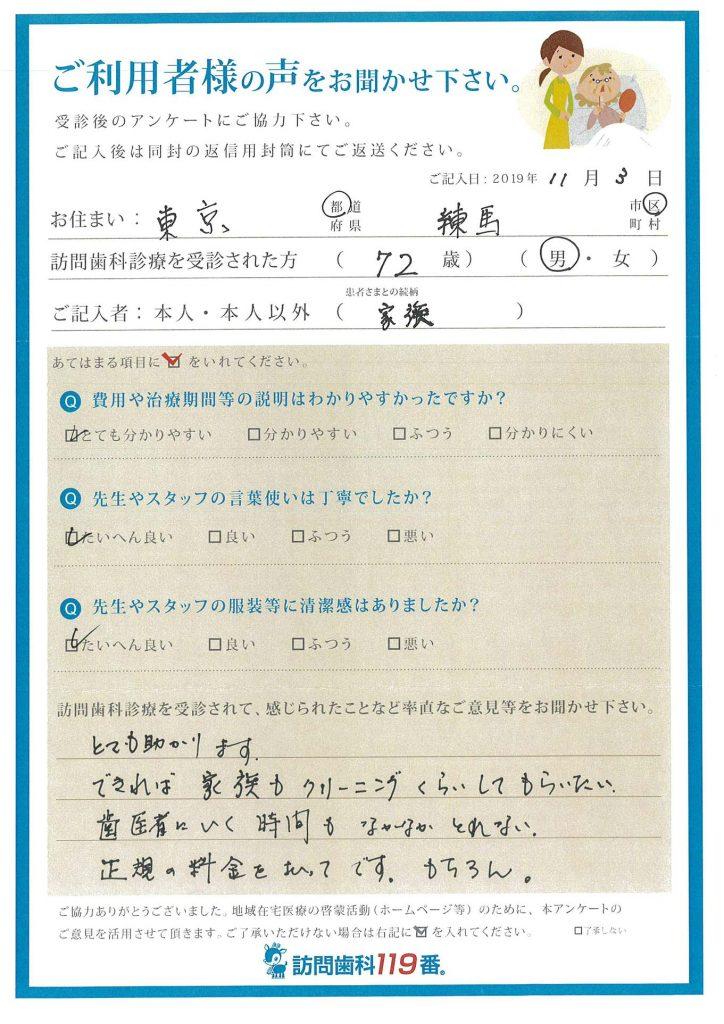 東京都練馬区 72歳 男性