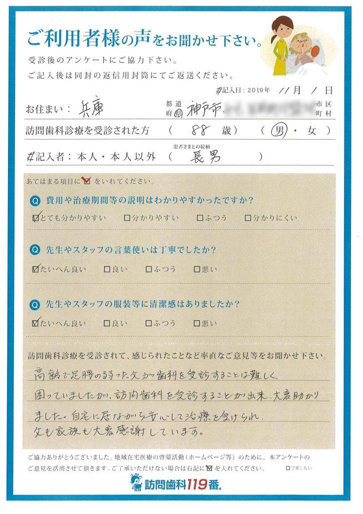 兵庫県神戸市 88歳 男性