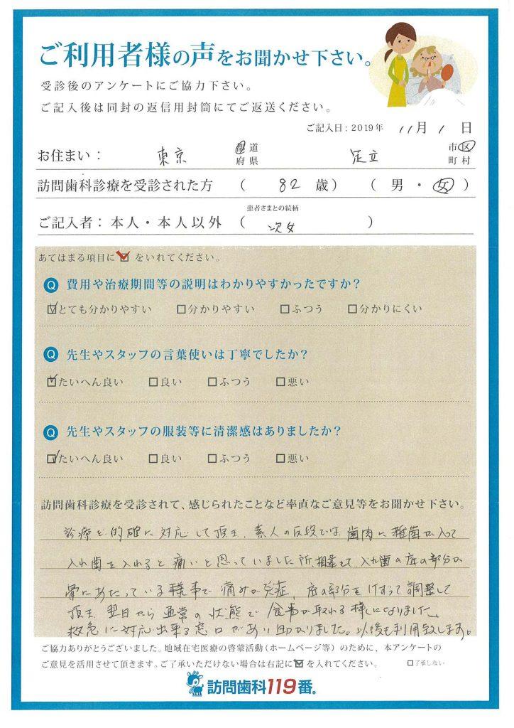 東京都足立区 82歳 女性