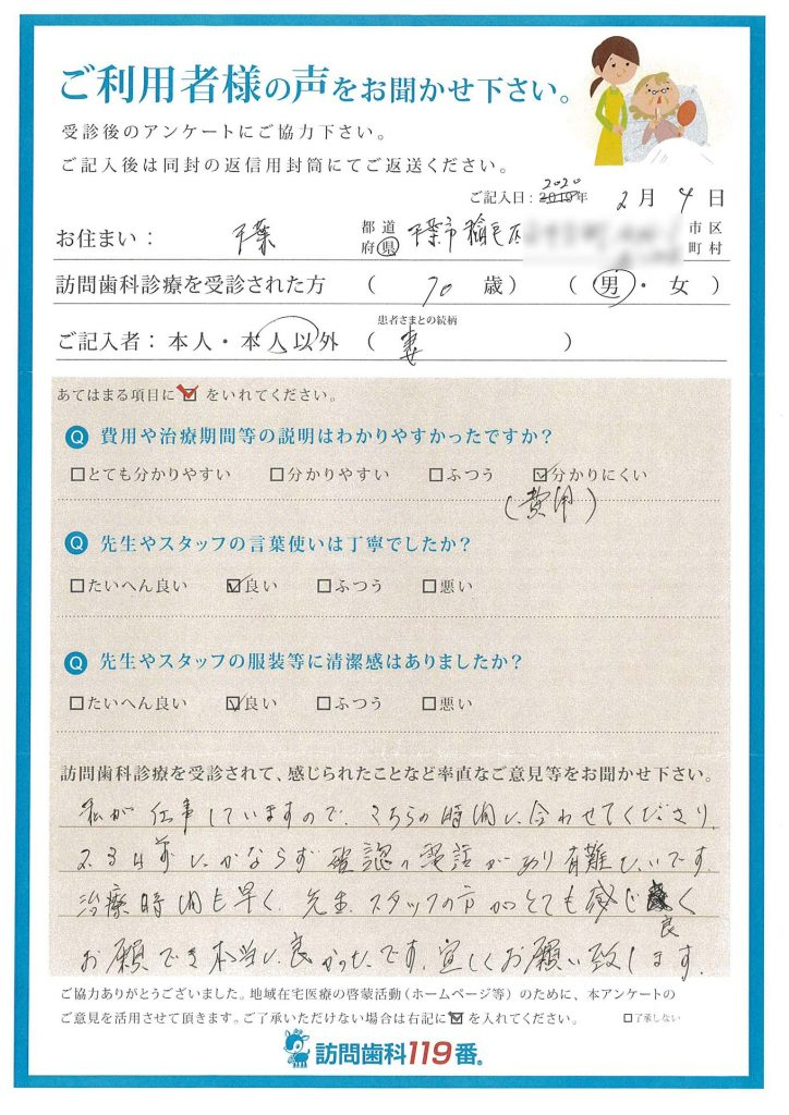 千葉県稲毛市 70歳 男性